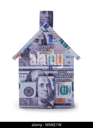 Hundred Dollar Bill Money House Isolated on a White Background. - Stock Photo