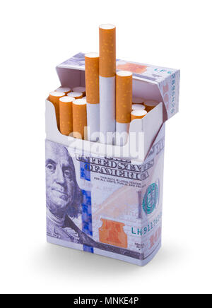 Open Pack of Money Cigarettes Isolated on a White Background. - Stock Photo