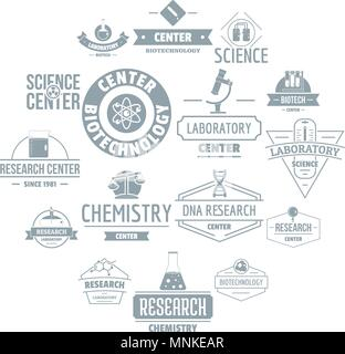 Chemical science logo icons set, simple style - Stock Photo
