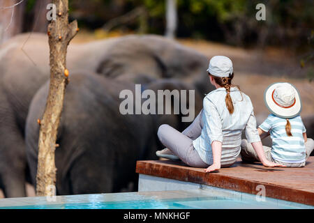 Family of mother and child on African safari vacation enjoying wildlife viewing sitting near swimming pool - Stock Photo