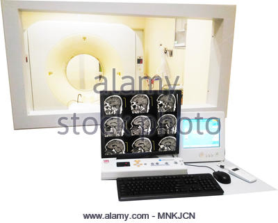 Closeup CT (Computed tomography) scanner in hospital laboratory.on white background - Stock Photo