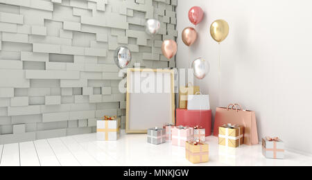 Realistic Room With Stone Wall, Party Balloons, Gift Boxes, Shopping Paper Bags And Empty Poster For Text On Light Wooden Floor 3D Rendering - Stock Photo
