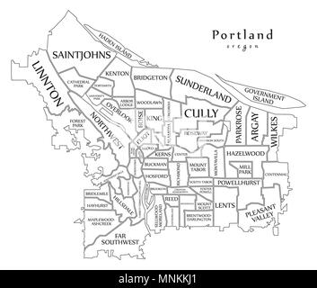 Modern City Map - Portland Oregon city of the USA with neighborhoods and titles outline map - Stock Photo