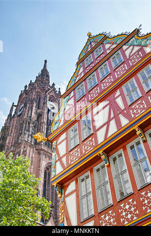 Cathedral and Old Town Frankfurt am Main, Germany - Stock Photo