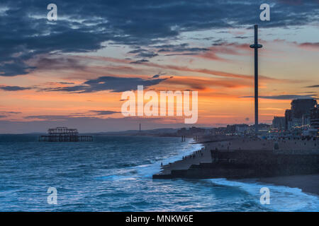 Brighton after sunset - Stock Photo