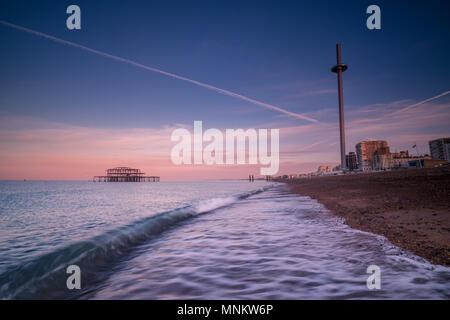 Breaking wave at Brighton - Stock Photo