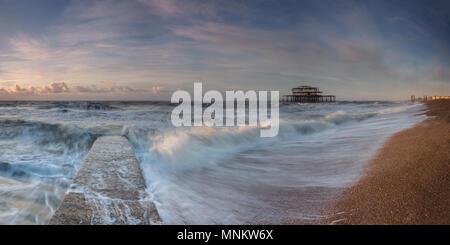 Brighton sunlit waves - Stock Photo