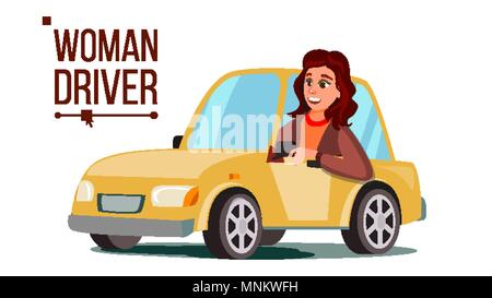 Woman Driver Vector. Sitting In Modern Automobile. Buy A New Car. Driving School Concept. Happy Female Motorist. Isolated Flat Cartoon Character Illustration - Stock Photo