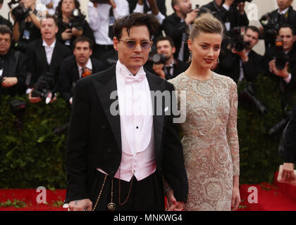 Johnny Depp and Amber Heard attend the 'Charles James: Beyond Fashion' Costume Institute Gala at the Metropolitan Museum of Art on May 5, 2014 in New  - Stock Photo