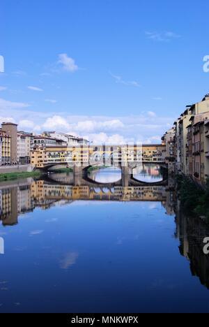 View of the Ponte Vecchio Bridge on the River Arno, Florence, Italy - Stock Photo