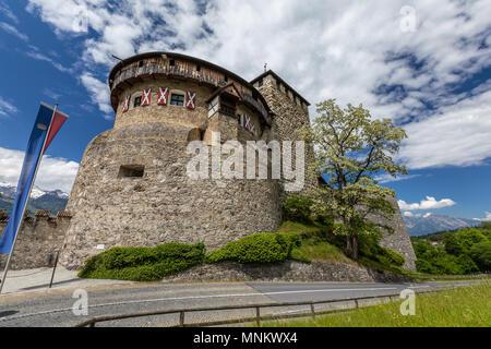 Vaduz Castle with mountain road in Liechtenstein. Alps landscape background - Stock Photo