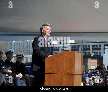 GROTON, Conn. (Mar. 17, 2018) The Honorable Cory S. Gardner, United States Senator, offers remarks at the commissioning ceremony for USS Colorado (SSN 788) on March 17, 2018. Colorado is the the U.S. Navy's 15th Virginia-class attack submarine and the fourth US Navy ship named for the State of Colorado. - Stock Photo