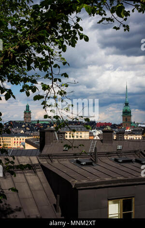 Looking towards Gamla Stan over the rooftops of Sodermalm in Stockholm, Sweden. - Stock Photo