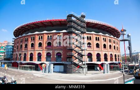 View of bullring Arenas de Barcelona, Spain - Stock Photo