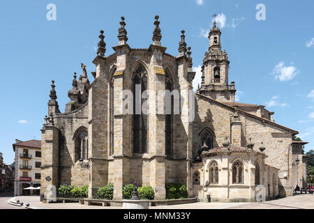 Iglesia de San Severino, 15th century, Plaza Mayor, Balmaseda, Vizcaya, Pais Vasco, Spain, - Stock Photo