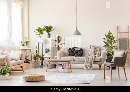 Pouf on rug and plants in spacious living room interior with grey chair near beige couch. Real photo - Stock Photo