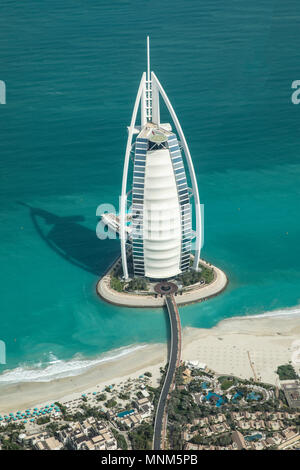 Dubai, United Arab Emirates, 18th May, 2018: aerial view of world most highly rated hotel Burj Al Arb - Stock Photo