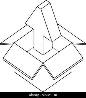 cardboard box storage upload arrow - Stock Photo