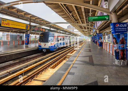 Train at Skytrain Station in Bangkok - Stock Photo