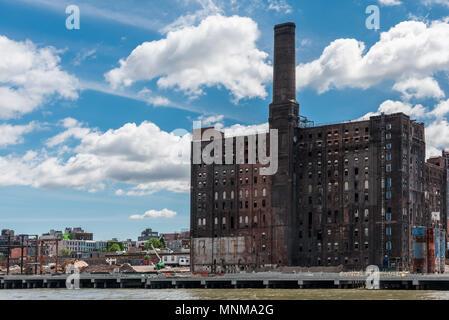 New York, USA -  May 27, 2017: The abandoned Domino Sugar Refinery in Williansburg, Brooklyn.