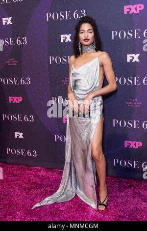 New York, NY - May 17, 2018: Indya Moore wearing dress by Christian Siriano attends FX Pose premiere at Hammerstein Ballroom Credit: lev radin/Alamy Live News - Stock Photo