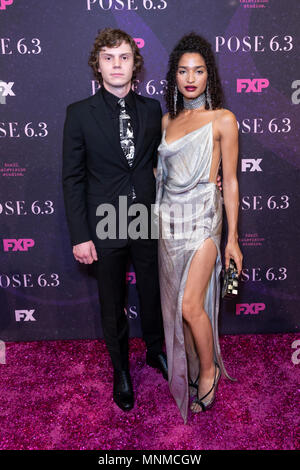 New York, NY - May 17, 2018: Evan Peters and Indya Moore attends FX Pose premiere at Hammerstein Ballroom Credit: lev radin/Alamy Live News - Stock Photo