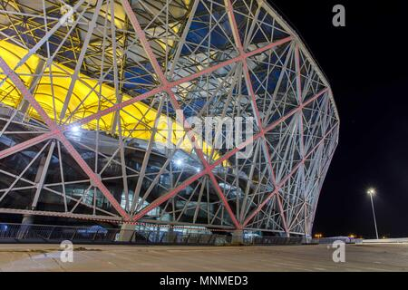 Moscow. 26th Mar, 2018. Picture taken on March 26, 2018 shows the exterior view of Volgograd Arena stadium which will host the 2018 World Cup matches in Volgogard, Russia. Credit: FIFA LOC/Xinhua/Alamy Live News - Stock Photo