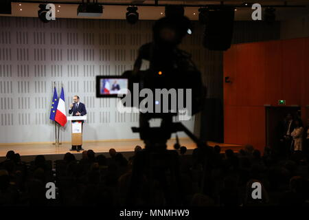 Strasbourg, France. 18th May, 2018. French Prime Minister Edouard Philippe speaks during a visit at ENA (National School of Administration) in Strasbourg. Credit: SOPA Images Limited/Alamy Live News - Stock Photo