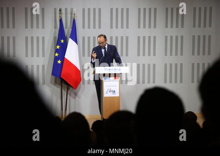 Strasbourg, France. 18th May, 2018. French Prime Minister Edouard Philippe speaks during a visit at ENA (National School of Administration) in Strasbourg. Credit: Elyxandro Cegarra/SOPA Images/ZUMA Wire/Alamy Live News - Stock Photo