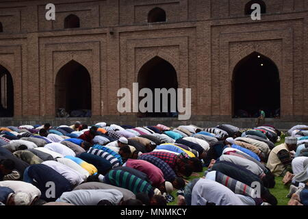 May 18, 2018 - Srinagar, Jammu & Kashmir, India - Kashmiri Muslims prays on the first Friday of the holy fasting month of Ramadan in the garden of Jamia Masjid or Grand Mosque.Islam's holiest month of Ramadan is a period of intense prayer, dawn-to-dusk fasting and nightly feasts. Credit: Abbas Idrees/SOPA Images/ZUMA Wire/Alamy Live News - Stock Photo