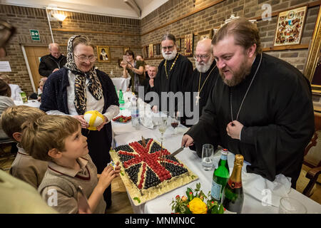 London, UK. 18th May, 2018. Birthday celebrations for Bishop Matthew Gennady (right) at the Russian Church in Knightsbridge who shares the same birthday as Saint Nicholas II, the last Tsar of Russia. Bishop Matthew has been resident Ruling Archbishop of the Church, the Diocese of Sourozh, since December 2017. Credit: Guy Corbishley/Alamy Live News - Stock Photo