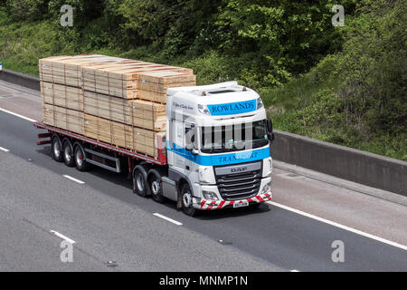 Heavy goods & commercial traffic on the M6 southbound, UK - Stock Photo