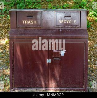 ASHEVILLE, NC, USA-13 MAY 18:Bear-proof trash and recycling bins located on the Blue Ridge Parkway, North Carolina, USA. - Stock Photo