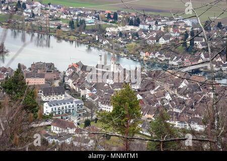 View of Stein am Rhein from Hohenklingen Castle, Switzerland, January 2018 - Stock Photo