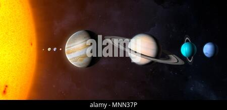 Illustration comparing the planets of the Solar System and the Sun on the same scale. The planets are shown to scale relative to each other but their distances are not. From left to right the bodies are: the Sun, Mercury, Venus, Earth, Mars, Jupiter, Saturn, Uranus and Neptune. - Stock Photo