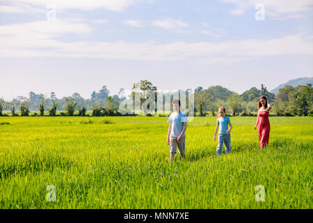 Family of mother and two kids enjoying peaceful walk in rice fields with breathtaking views over mountains in Sri Lanka - Stock Photo