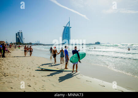 Burj Al Arab, Jumeirah beach, Dubai - Stock Photo