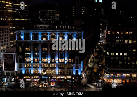 New York City, USA - April 6, 2018: Aerial view of urban cityscape, skyline, rooftop building skyscrapers in NYC Herald Square Midtown with Macy's sto - Stock Photo