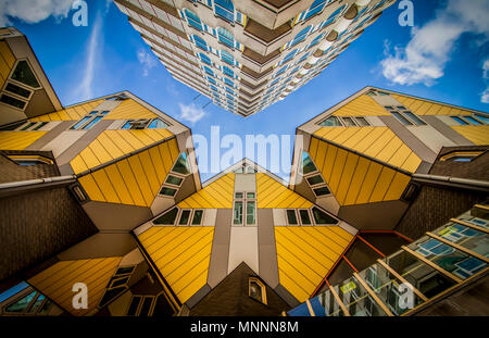 Innovative yellow cubic houses built in Rotterdam - Stock Photo