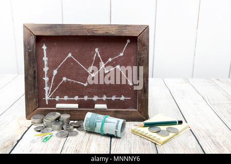 Russian rubles and a board with a drawn schedule. Change in the ruble exchange rate - Stock Photo