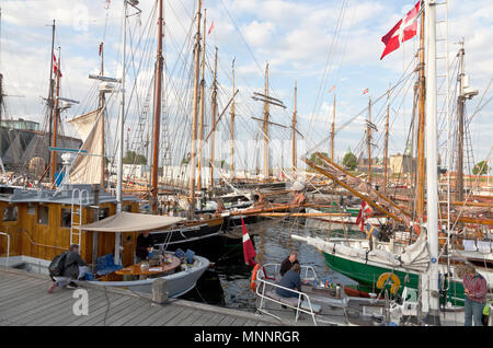 Historical days of more than 100 wooden ships in Elsinore Culture Harbour at Pentecost or Whitsun. Helsingør, Elsinore, Denmark. Kronborg Castle. - Stock Photo