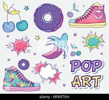 Pop art funny cartoons - Stock Photo