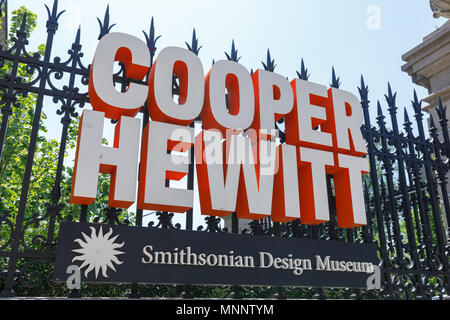 New York, USA - May 6, 2018 : The sign of Cooper Hewitt, Smithsonian Design Museumlocated in the Upper East Side's Museum Mile in Manhattan, NYC. - Stock Photo