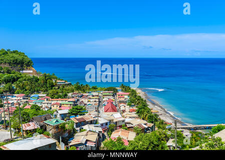 Canaries - Village on the Caribbean island of St. Lucia. It is a paradise destination with a white sand beach and turquoiuse sea. - Stock Photo