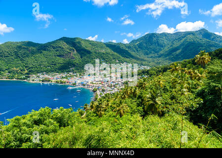 Soufriere Village - tropical coast on the Caribbean island of St. Lucia. It is a paradise destination with a white sand beach and turquoiuse sea. - Stock Photo