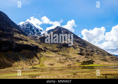 Loch Achtriochtan and the Bidean nam Bian massif in Glen Coe in the Highlands of Scotland - Stock Photo