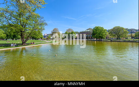 Park of Stuttgart City close to the theatre and opera builing - Germany - Stock Photo