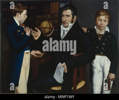 HIS360759 Portrait of Simon Moritz von Bethmann with his two nephews Johann Philipp and Moritz August Bethmann-Hollweg in 1803, Frankfurt, 1826 (oil on canvas) by Oppenheim, Moritz Daniel (1800-82); 113x145 cm; Deutsches Historisches Museum, Berlin, Germany; (add.info.: Simon Moritz von Bethmann (1768-1826) German banker; Moritz August (1795-1877 ); Johann Philipp (1791-1812);The most notable of the Bethmanns was Simon Moritz von Bethmann (1768–1826): banker, diplomat, politician, philanthropist and patron of the arts. His sister Maria Elisabeth was the mother of Marie d'Agoult and the grandmo - Stock Photo