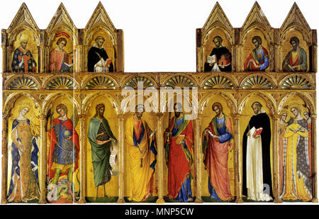 Coronation of the Virgin .  San Severino Marche, Pinacoteca Comunale, Church of Saint Dominic. upper panels: St Severin the Bishop, St Venantius Martyr, St Peter Martyr; St Thomas Aquinas, St Thomas the Apostle, St Bartholomew; 33 x 45 cm, each lower panels: St Catherine of Alexandria, Archangel Michael, St John the Baptist, St Peter; St Paul, St John the Evangelist, St Dominic, St Orsola; 96 x 33 cm, each . 14th century.   958 Paolo Veneziano 004 - Stock Photo