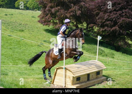 Corby, England. 18th May 2018. Horses and riders take part in the Fairfax & Favor International horse trials in the grounds of  Rockingham Castle, Corby, England 18 May 2018 Credit: Scott Carruthers/Alamy Live News - Stock Photo